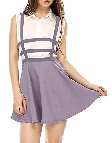 Edress Womens Pleated Short Braces Skirt FBA (XL, Violet)