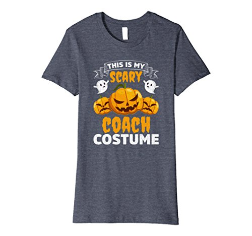 Womens This Is My Scary Coach Costume Funny Halloween Shirt XL Heather Blue