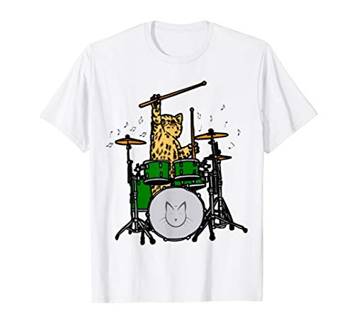 Drummer Cat Music Lover Musician Playing The Drums Tee Shirt