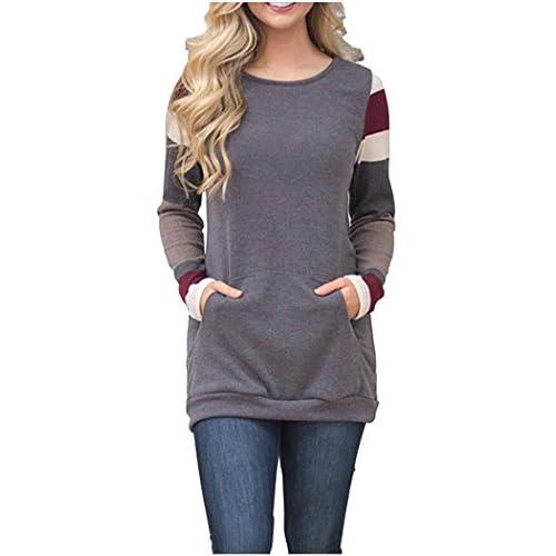 024b9f97c9 Kumer Women s Color Block Striped Long Sleeve Tunic Sweatshirt Cotton  Knitted Lightweight Sweater With Kangaroo Pocket