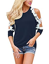 Womens Sexy Lace Blouses Off Shoulder Summer Tops Floral Crochet Shirt Casual