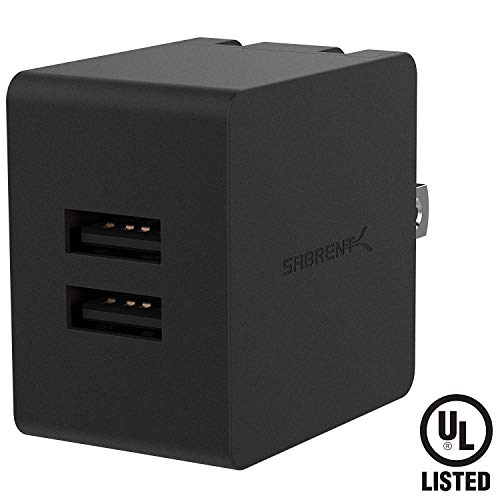 Sabrent [UL Certified] Dual USB Wall Charger with Foldable Plug (10.5W 2.1 Amp) Smart USB Charger with Auto Detect Technology [Black] ()