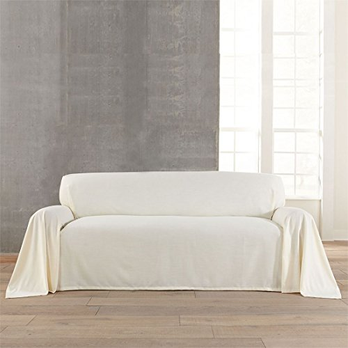 BrylaneHome Dani Dropcloth-Style Extra-Long Sofa Cover (Ivory,0)
