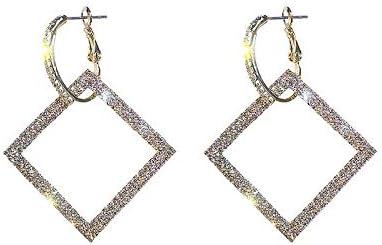 LLDEH Joyería de Moda Pendientes Elegantes Pendientes Cuadrados Pendientes de Cristal para Fiesta de Bodas para Mujer