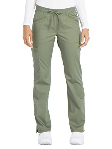 Drawstring Straight Leg Pant - Dickies Women's Essense Mid Rise Straight Leg Drawstring Pant, Olive, Small