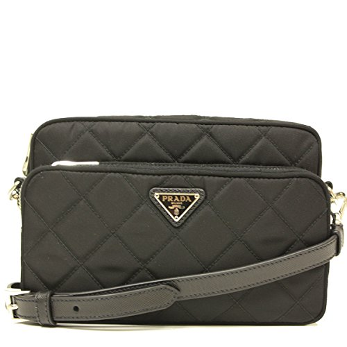 Prada Black Tessuto Bandoliera Small Quilted Nylon 2 Pocket Cross Body Shoulder Bag BT1027