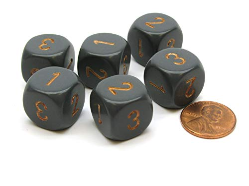 Opaque 16mm D3 (D6 with 1-2-3 Twice) Dice, 6 Pieces for sale  Delivered anywhere in USA