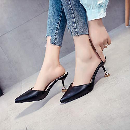 Têtes Femmes Sveltes Pantoufles Chaussures pour YUCH De Black Travail Et avec Paresseuses ECqXwEI