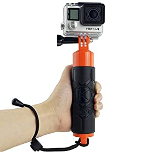 Premium Floating Hand Grip for Gopro Hero 4, Session, Black, Silver, Hero+ LCD, 3+, 3, 2, 1 / Hollow Interior for Storage of Small Items / Textured Silicone Covering on Handle for Easy Grip / Thumbscrew and Lanyard Included