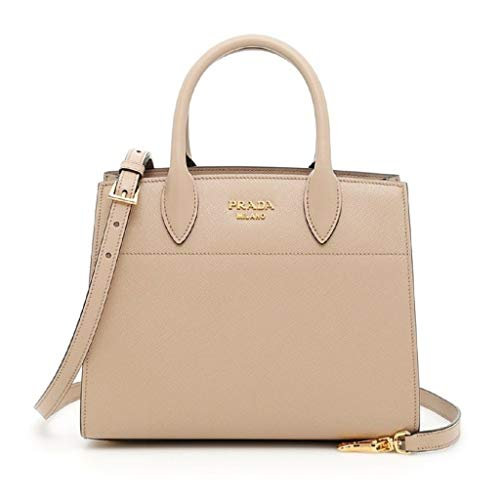 Prada Bibliothèque Tote Saffiano City Leather Beige and Maroon Handbag ()