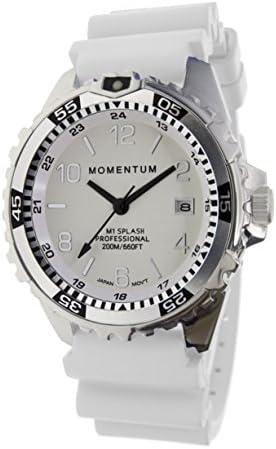 Momentum Men Women s Dive Series Quartz Sports Watch – M1 Splash Water Resistant, Easy to Read White Luminous Dial, Date, Screw Crown, Stainless Steel Case Bezel Japanese Mvmt Analog