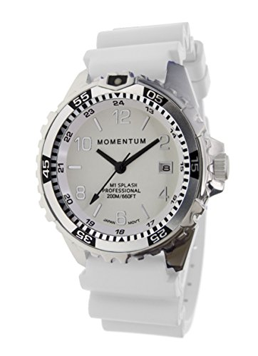 - Women's Quartz Watch | M1 Splash by Momentum| Stainless Steel Watches for Women | Dive Watch with Japanese Movement & Analog Display | Water Resistant ladies watch with Date -Lume  / Silver Rubber