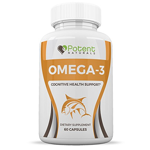 Omega 3 Fish Oil - Cognitive Health Support - Natural Ingredients - Rich in Omega 3 & 6 Fatty Acids - One Month Supply (60 Capsules) - Potent Naturals