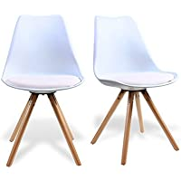 Dining Chair by Santang White Eames Chair Seated Height 18 Eames Soft Padded Seat Effiel DSW Style Chair with Sturdy beech wood legs For Dining Room Chair Set of 2