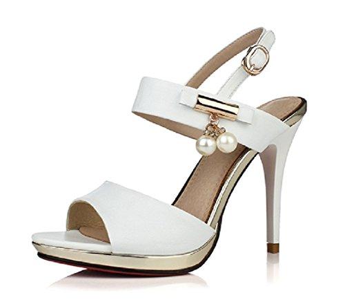 ナインセブン本革レディースピープトウスティレットヒールSlingback Sandal with Pearls