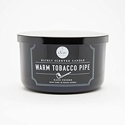 Decoware Richly Scented Warm Tobacco Pipe 3-Wick Candle In Glass