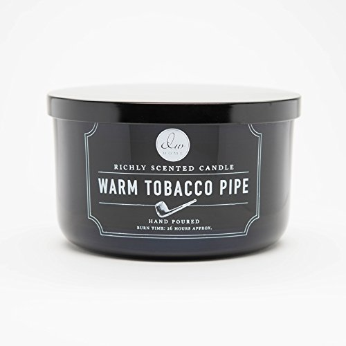 Decoware Richly Scented Warm Tobacco Pipe 3-Wick Candle In Glass,Black,13.8 Oz.