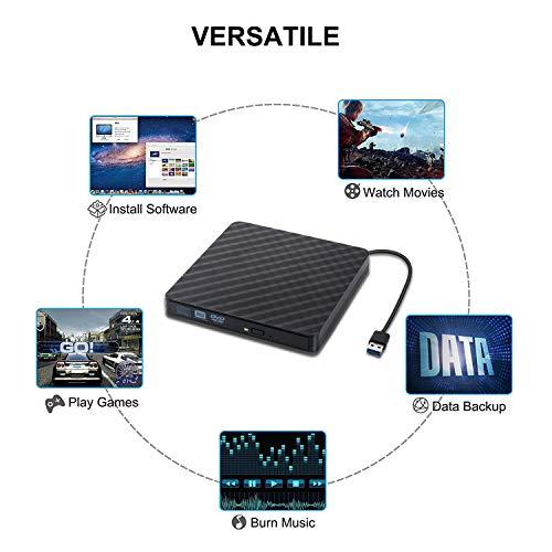Tecnugiz External CD/DVD Drive for Laptop & MacBook, CD / DVD Player & Burner with USB 3.0 Plug, Fast Data   Transfer & Writing Speed 8 X DVD-R by Tecnugiz (Image #3)
