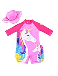 3b3c7a489b QIJOVO Baby Girl One-Piece Rash Guard Swimsuit Unicorn Toddler Swimwear  with Hat UPF50+