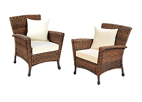 W Unlimited Rustic Collection 2 Piece Patio Chairs Outdoor Furniture Light Brown Rattan Wicker Garden Patio Furniture Bistro Set, Lounger Deep Seating Cushions -