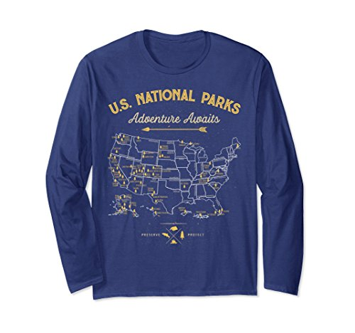 Unisex National Park Map Vintage T Shirt - All 59 National Parks 2XL Navy