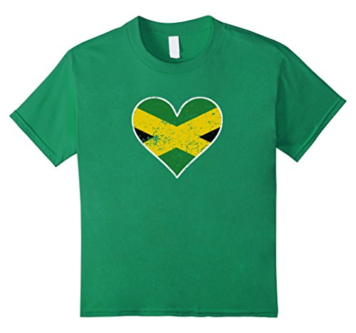 Kids Jamaican Flag Heart Jamaica Love Distressed T-Shirt 12 Kelly Green Jamaican Flag Heart