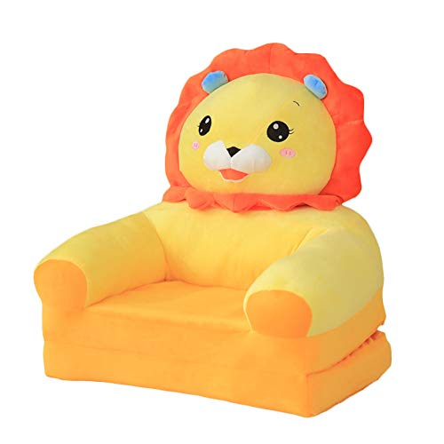 Animal Chair Plush Sweet Children's Furniture, Kid's Soft Sofa Seat Cartoon Chairs Best Gifts for Boys Girls Bean Bag Armchair Seats Yellow Lion Folding Sofa