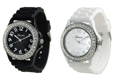 White Black 2 Pack Geneva Crystal Rhinestone Large Face Watch with Silicone Jelly Link Band (Watches Women Jelly compare prices)