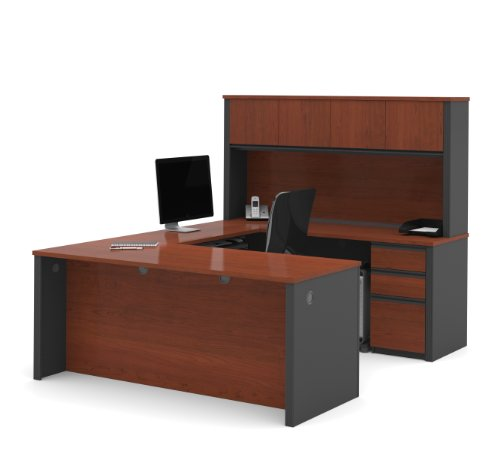 Bestar Prestige + U-Shaped Workstation kit, Bordeaux/Graphite