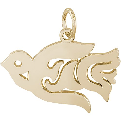 - Rembrandt Sterling Silver Two-Tone Peace Dove Charm on a Sterling Silver Rope Chain Necklace, 16