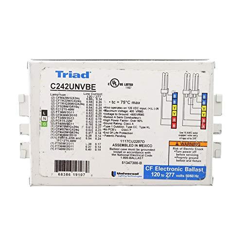 Universal C242UNVBE Electronic Fluorescent Ballast, 2-Lamp, CFL CFM42W/GX24q 42W, 120/277V