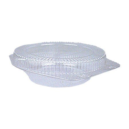10 inch Round Clear Plastic Shallow Hinged Pie Container - 100 per case