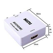RCA AV to HDMI Converter AV2HDMI,Mini Convert Composite CVBS to 1080P HDMI Out Switcher