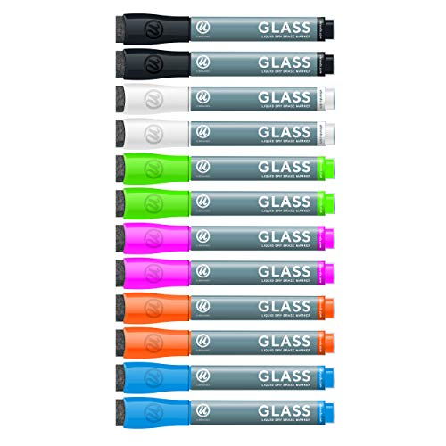 U Brands Liquid Glass Board Dry Erase Markers with Erasers, Low Odor, Bullet Tip, Assorted Colors, ()