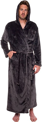 Ross Michaels Mens Hooded Long Robe - Full Length Big & Tall Bathrobe (Grey, XXXL)