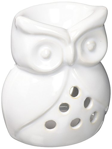 Home Locomotion White Ceramic Owl Oil Warmer