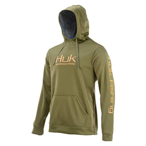 Huk H1300022 Men's Performance Hoodie Pullover, Military Olive Drab, Large