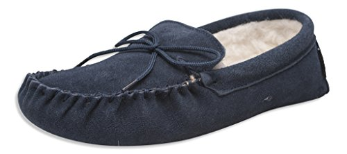 Nordvek Ladies Genuine Lambswool Moccasin Slippers Soft Suede Sole # 431-100 Navy 7SA7A