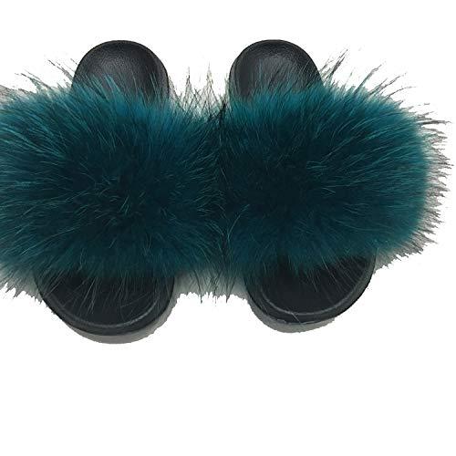 Summer Fox Fur Slides Cute Plush Slippers 100% Real Hair Beach Size 36-45 7 6 (Best Massage In Riyadh)