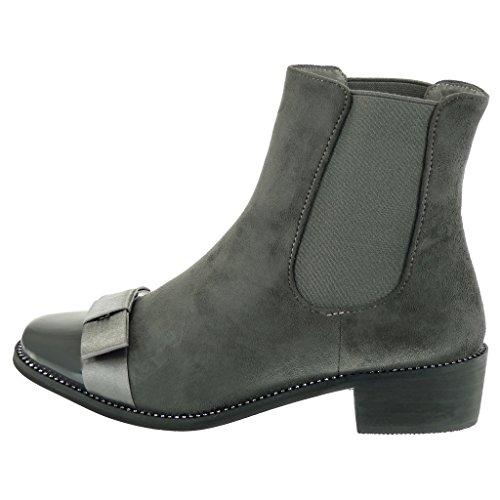 Angkorly - Zapatillas Moda Botines chelsea boots cavalier mujer strass pajarita patentes Tacón ancho 3.5 CM Gris
