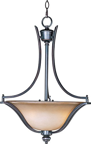 - Maxim 10173WSOI Madera 3-Light Pendant, Oil Rubbed Bronze Finish, Wilshire Glass, MB Incandescent Incandescent Bulb , 60W Max., Dry Safety Rating, Standard Dimmable, Metal Shade Material, Rated Lumens