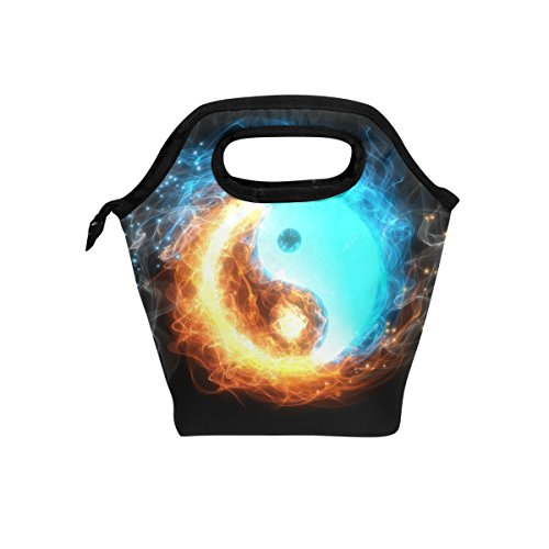 Yin Yang Ice And Fire Lunch Bag Tote Handbag lunchbox Food Container Gourmet Bento Coole Tote Cooler warm Pouch For Travel Picnic School Office (Yang Bag)