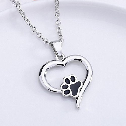 Dog Paw Necklace Jewelry Crystal Rhinestone Love Necklace For Women Hemlock (Silver-1)