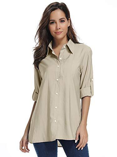 Women's Sun Shirt UV Protection Quick Dry Outdoor Convertible Long Sleeve Breathable Hiking Fishing Shirt Shirt Light Khaki Size L