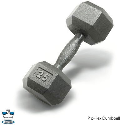 Hampton 85 lb. Pro Hex Dumbbell w/ Steel Ergo handle, pr.