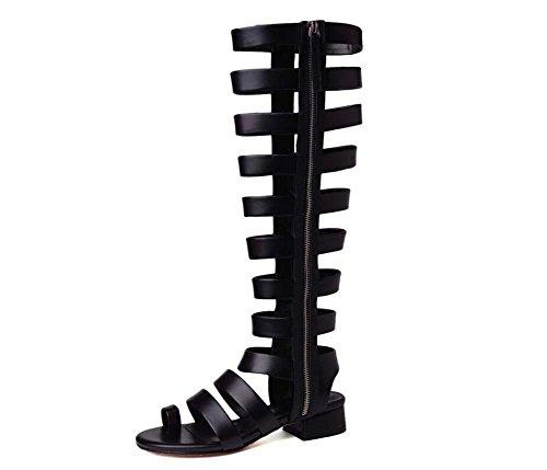 Con Abierta Caña Verano Romano Cuero Gruesa Mujer Alta Estilo Americanos Larga Moda De Negro Botas Punta Y Europeos Zapatos P4wg6qzYW
