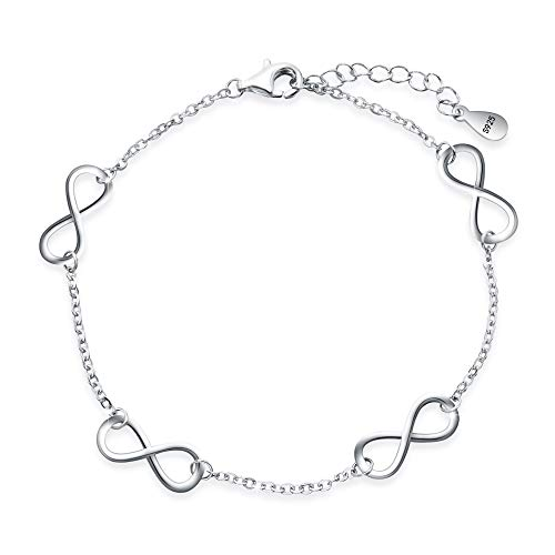 EVER FAITH Women's 925 Sterling Silver Elegant Figure 8 Infinity Adjustable Link Bracelet Hand Chain ()