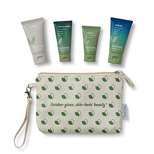 bioClarity Travel-Size Skincare Set (4 Piece) | 100% Clean, Vegan Ingredients | Incl. 3-Step Essentials Skin Routine + Clarifying Mask w/Travel Tote...