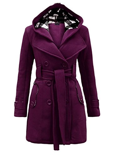 Wancy Womens Winter Check Hooded Military Double Breast Botton Plus Size Duffle Coat Jacket With Belt Purple 2X-Large