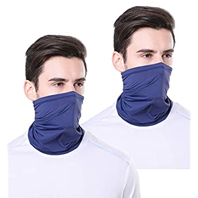 TEUME Neck Gaiter Sun UV Protection Summer Face Mask Breathable Balaclava Scarf for Hiking Fishing Cycling (2 Pack-Navy): Automotive